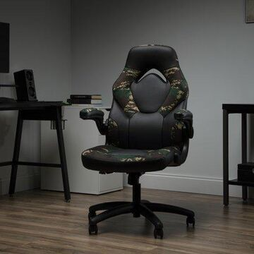 OFM Essentials Collection Racing Style Bonded Leather Gaming Chair, in Forest Camo (ESS-3085-FST)