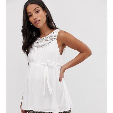 Mamalicious maternity crochet lace detail tank top-White