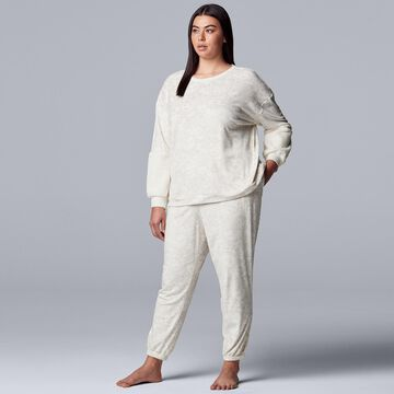 Plus Size Simply Vera Vera Wang Velour Pajama Top and Banded-Bottom Pajama Pants Set