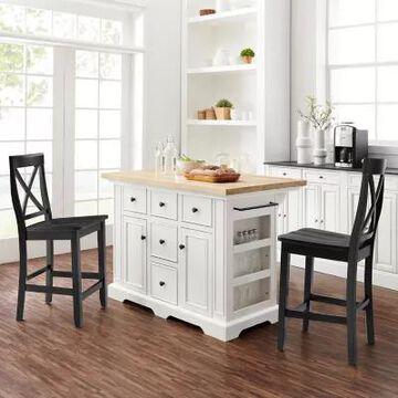 Crosley Julia 3-Piece Kitchen Island Set in White/Black
