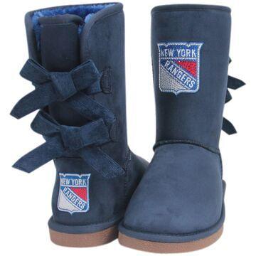 Women's Cuce Navy New York Rangers Patron Bow Boots