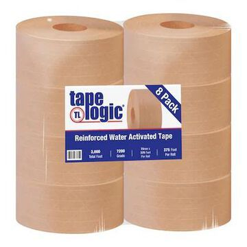 Tape Logic #7200 Reinforced Water Activated Tape, 72mm x 375, Kraft, 8/Case (T9067200) | Quill