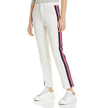 Mother The Straight Shaker Jeans in in Chalk/Pink Racer
