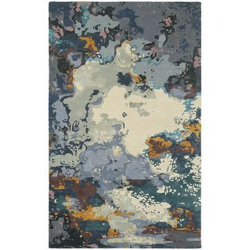 Style Haven Panacea Blue/Grey Wool and Viscose Abstract Area Rug (10' x 13') - 10' x 13'