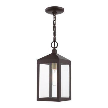 Livex Lighting Nyack Bronze with Antique Brass Cluser Transitional Clear Glass Lantern Mini Pendant Light   20591-07