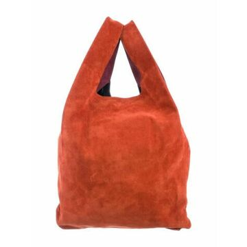 Colorblock Suede Shopping Bag Red