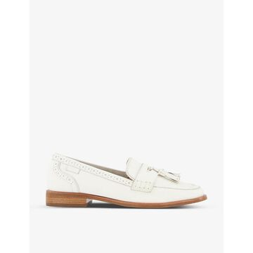 Dune Womens White-leather Gadot Tassel-embellished Leather Loafers 8