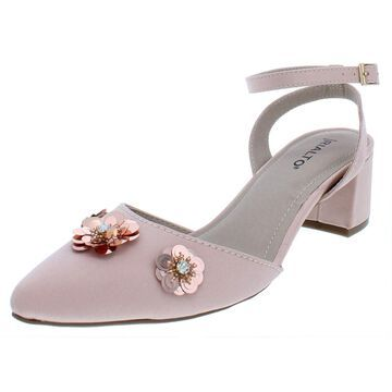 Rialto Womens Marjorie Satin Embellished Block Heels