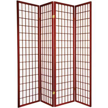 Oriental Furniture 4-Panel Rosewood Paper Folding Shoji Style Room Divider in Red | SSCWP-4P-RWD