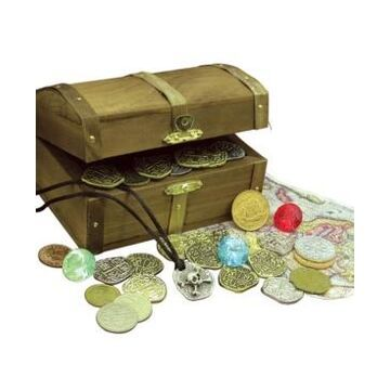 American Coin Treasures Kid's Treasure Chest with Replica Pirate Coins, Foreign Coins, Gems and Necklace Coin Jewelry