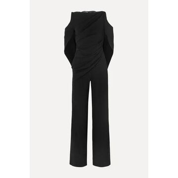 Talbot Runhof - Pigalle Lace-paneled Draped Crepe Jumpsuit - Black