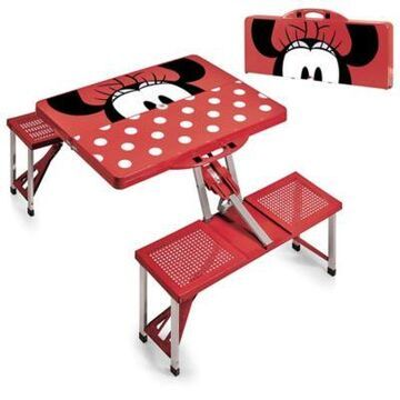 Picnic Time Disney Minnie Mouse Picnic Folding Table with Seats in Red
