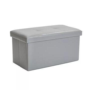 Simplify Large Collapsible Folding Storage Ottoman, Grey