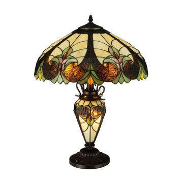134528 24 x 18 in. Sebastian 2-Light with Lighted Base Table Lamp, Mahogany Bronze