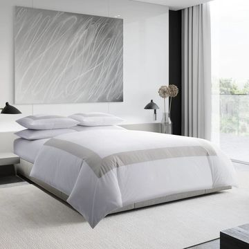 Vera Wang Sateen Band Silver Cotton Comforter Set