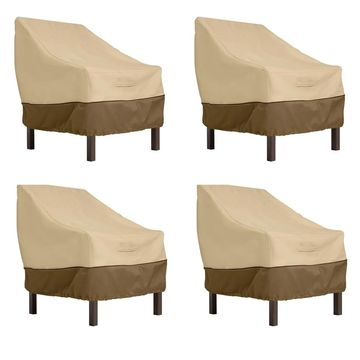 Classic Accessories Veranda Water-Resistant 25.5 Inch Patio Chair Cover, 4-Pack (Pebble/Bark/Earth)