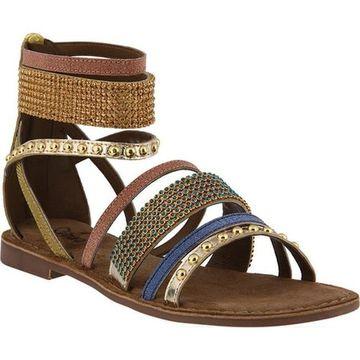 Azura Women's Belalia Strappy Ankle Strap Sandal Gold Leather