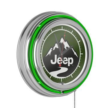 Jeep Neon Analog Wall Clock - Green Mountain - 14.5 x 14.5 x 3