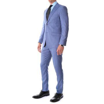 Ferrecci Men's Detroit Slim Fit Blue Birdseye Peak Lapel 2pc Suit