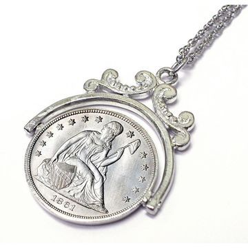 American Coin Treasures Sterling Silver Civil War Seated Liberty Dime Spinner Necklace