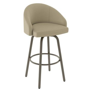 Amisco Minto Swivel Stool, Matte Light Gray/Beige, Counter Height