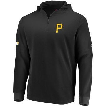 Majestic Men's Pittsburgh Pirates Authentic Collection Batting Practice Waffle Hooded Pullover