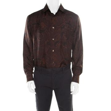 Brioni Brown Paisley Printed Silk Button Front Shirt L