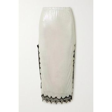Christopher Kane - Lace-trimmed Chainmail Midi Skirt - Cream