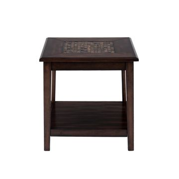 Baroque Brown End Table with Mosaic Tile Inlay