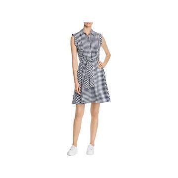 Cupio Womens Shirtdress Gingham Tie-Front