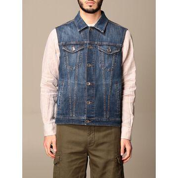 Eleventy denim vest with welt pockets