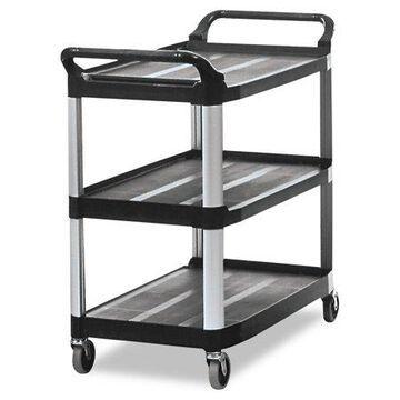 Rubbermaid Commercial Open Sided Utility Cart, Three-Shelf, 40-5/8w x 20d x 37-13/16h, Black