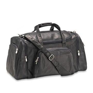 Piel Leather Sports Duffle Bag in Black