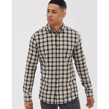 Only & Sons check shirt in slim fit-Yellow