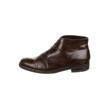 Leather Lace-Up Boots Brown