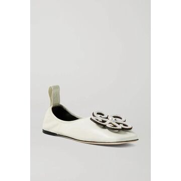 Loewe - Faux Pearl-embellished Leather Ballet Flats - White