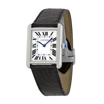 Cartier Men's W5200003 'Tank Solo' Black Leather Watch