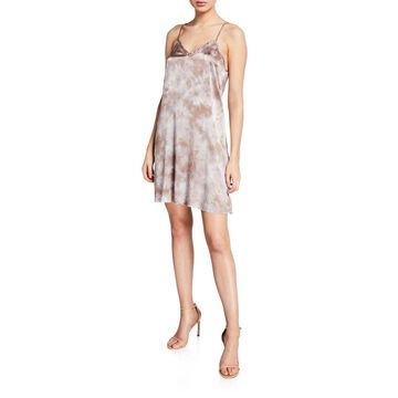 Tie-Dye Silk V-Neck Short Slip Dress
