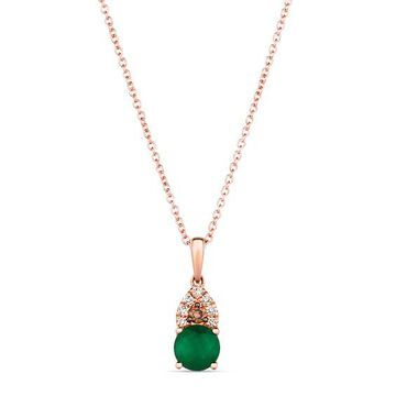 "Le Vian Emerald Necklace 1/10 ct tw Diamonds 14K Strawberry Gold 18"""