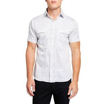 Men's Pixel Woven Short-Sleeve Sport Shirt