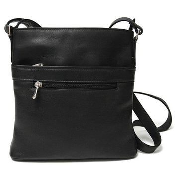 Royce Leather Colombian Genuine Leather Triple Zip Crossbody Bag