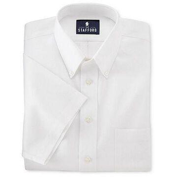 Stafford Mens Short Sleeve Travel Easy-Care Broadcloth Stretch Dress Shirt No Color Family