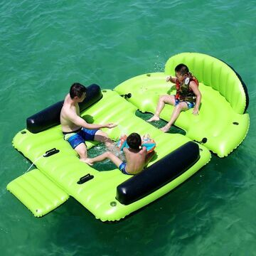 ALEKO Inflatable Floating Island Chaise Lounger with Cup Holders and Boarding Platform - 6 Person - Green and Black (Green and Black)