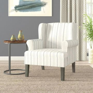 HomePop Emerson Rolled Arm Accent Chair - Dove Grey Stripe (Grey)