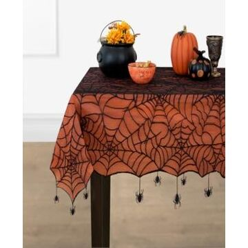 """Elrene Crawling Halloween Spider Lace Lined Tablecloth - 70"""" Round"""