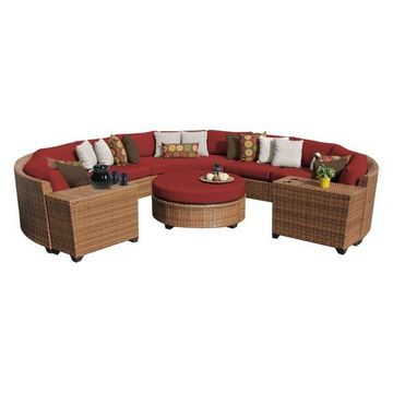 TK Classics Laguna 8-Piece Outdoor Wicker Sofa Set, Terracotta