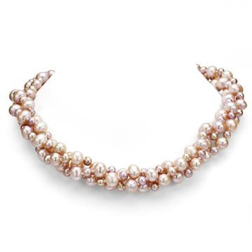 DaVonna Sterling Silver 3-row Twisted 4-8mm Freshwater Pearl Necklace 18
