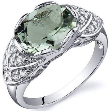 2.25 Carat T.G.W. Green Amethyst Rhodium-Plated Sterling Silver Engagement Ring