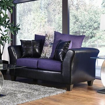 Furniture of America Rowalta Contemporary Purple Chenille Loveseat