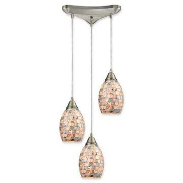 ELK Lighting Capri 9-Inch 4-Light Ceiling-Mount Pendant in Satin Nickel with Grey Capiz Shell Shades